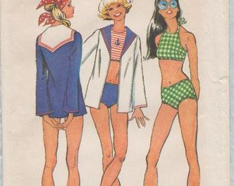 Simplicity 5036 / Vintage Sewing Pattern / Swimsuit Bathing Suit Sailor Jacket Beach Coverup / Size 11 12 / Bust 32