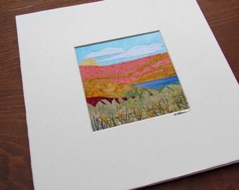 "SALE Landscape Fabric Collage Original ""Hillside"""