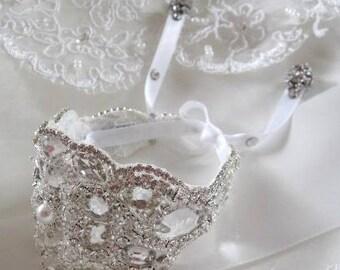 Wedding Bridal Beaded Crystal Bracelet Cuff Bangle