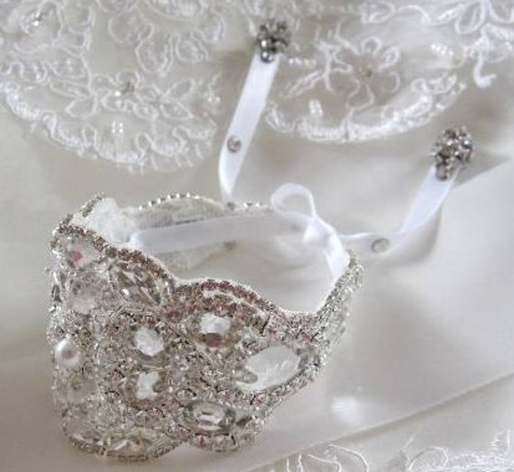 Wedding Bridal Beaded Crystal Bracelet Cuff Bangle