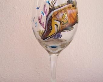 Ocean Hogfish Tropical Reef Fish Wine Glass Hand Painted Wine Goblet (Custom Order)