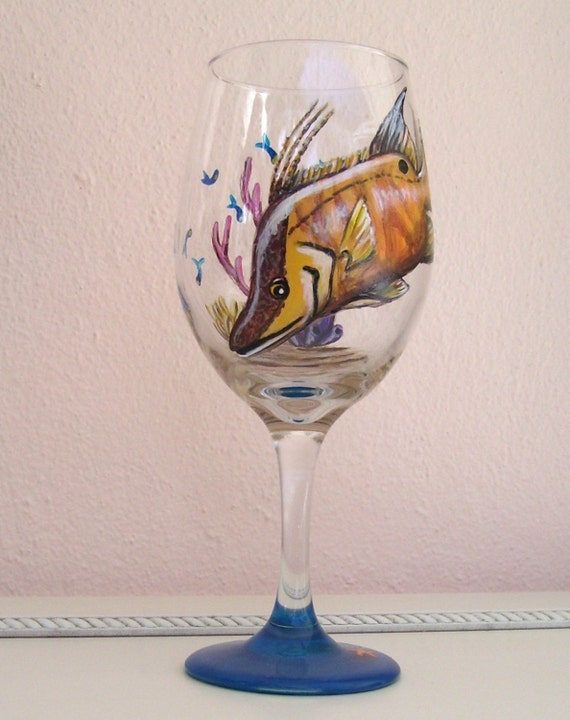 Ocean hogfish tropical reef fish wine glass hand painted wine for Painted glass fish