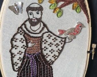 Saint Francis Hoop Art - St. Francis Hoop - Folk Art - Gift for Animal Lover - Embroidery  - Saint Wall Art - Inspired by Mexican Folk Art