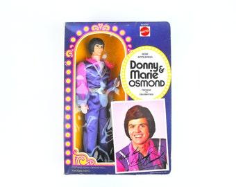 1976 Donny Osmond Doll Vintage NRFB Donny & Marie Show Mattel Barbie Ken Groovy Hippie Celebrity Rock n' Roll Figurine Collectible Americana