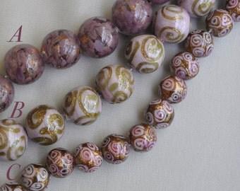 Mauve / Lilac Lamp Work Round Beads with Aventurine Handmade 15 - 17 Pieces