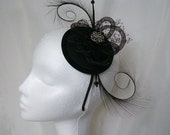 Elegant Black Curl Feather Crinoline Loop & Vintage Button Arya Exclusive Fascinator Mini Hat Derby Ascot - Made to Order