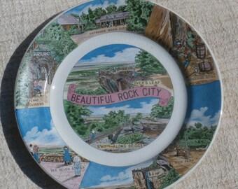 Beautiful Rock City Souvenir Plate, Vintage Tennessee, Fairlyland Caverns, Moonshine Still