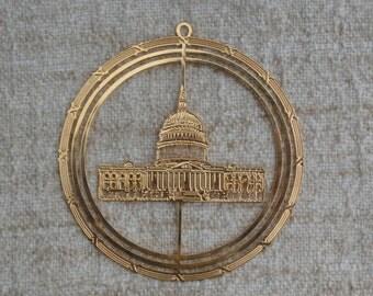 CIJ National Capitol Building Brass Souvenir Ornament, Washington D.C. Vintage Christmas