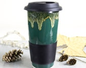 Forest Woodland Green Travel Mug with Lid for Dad, To Go Mug with Silicone Lid, Woodland moss highlights handmade pottery IN STOCK