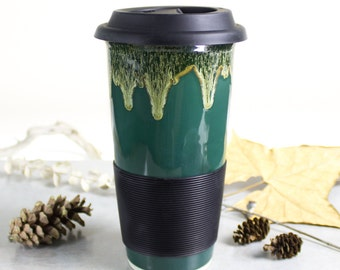 Forest Woodland Green Travel Mug with Lid for Dad, To Go Mug with Silicone Lid, Woodland moss highlights handmade pottery