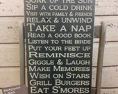 Deck Rules Sign 12x24x1 Custom to your Deck or Porch, Deck, Patio Rules Typography Word Art Sign