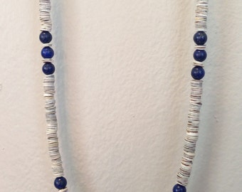 """Lapis Lazuli & Chain """"Dawn"""" Layering Necklace- Dark Blue Stone Shell and Chain Stacking Necklace"""