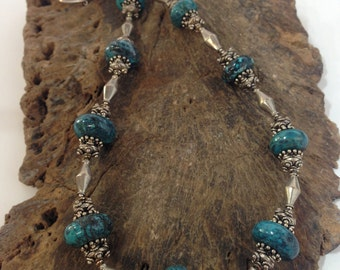 American Blue Turquoise Sterling Silver & Stone Boho Chic Designer Necklace