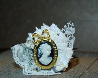 Assemblage jewelry shabby chic silver bracelet cameo and vintage lace