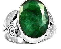 Emerald Ring Vintage Rough Cut Emerald Ring in Solid Sterling Silver w Sterling Leaf and Leaf Size 6.5