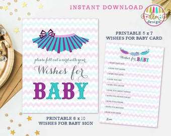 Wishes for Baby, Printable Wishes Card, Baby Shower Wishes for Baby, Tutu Cute, Baby Girl Shower, Purple and Aqua, Sign and Card Printable