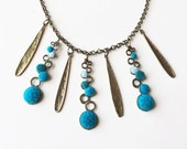 Felted circle blue and turquoise winter statement necklace