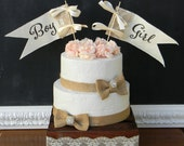 Gender Reveal Cake Topper Baby Shower Cake Topper Burlap and Lace Flags Banner Rustic Shabby Chic Woodland Boy Or Girl Cake Topper
