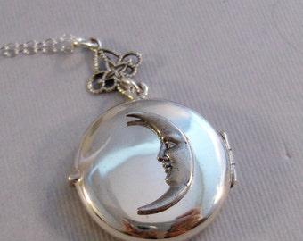 Sterling Moon,Moon,Moon Locket,Moon NecklaceLocket,Silver Locket,Sterling,Locket,Sterling Moon,Crescent Moon,Moon Goddess,handmade,valleygir