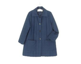 Vintage Quilted Jacket * 60s A-line Coat * Navy Blue Jacket * Medium / Large