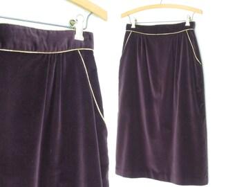70s Velvet Skirt * Vintage Pencil Skirt * Plum Perfect 1970s Skirt * Small