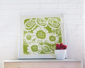 Green Sunflower Aria Silk Screened Art Print on white Paper