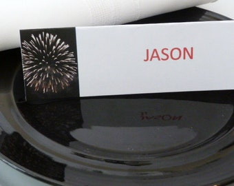 Place Cards/ Name Cards/ Food Tents - Fireworks - Fouth of July - Set of 6