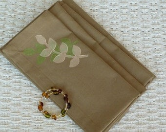 Tan Napkins with Cream and Green Design - Set of 4
