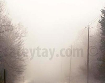 Fog Print, Beige, Brown, Rustic Wall Decor, Country Road, White, Winter Art, Nature Photography, Rustic Wall Art
