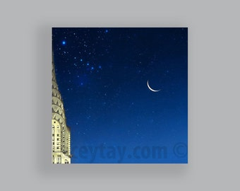 Chrysler Building, New York Photography, Blue, Gold, Art Deco, Moon Stars, Travel, New York City Print, Large Wall Art