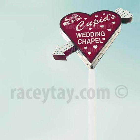 Cupid's Chapel, Travel Photography, Blue, Red, Valentine Heart, Love, Las Vegas Sign, Office Decor