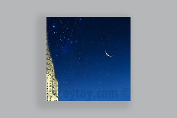 Chrysler Building, New York Photography, Blue, Gold, Art Deco, Moon Stars, Travel, New York City Print, Large Wall Art