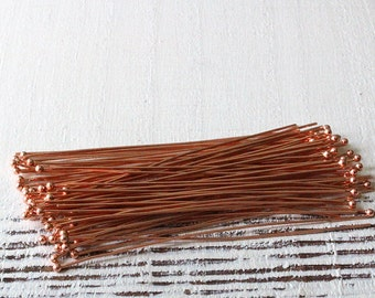 21g - 3 Inch Solid Copper Headpins - Ball Pins - Jewelry Making Supply - 2mm Balled Tip Headpin - Choose Amount