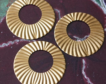 Antiqued Brass Stamping - Large Asymmetrical Donut - Metal Stampings - Jewelry Making - Brass Findings  (16 pieces) 43mm