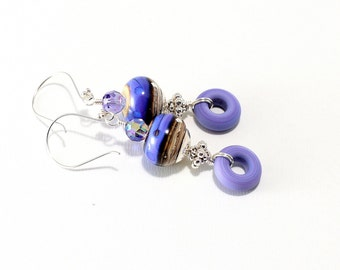 Lavender Lampwork Bead Earrings. Light Purple Beaded Earrings. Boho Dangle Earrings. SS Bali Beads. Lampwork Jewelry. Gifts For Her.