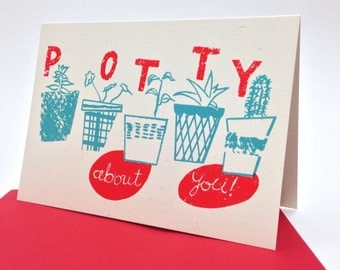 Potty About You screen printed card - recycled card - Valentines card