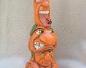 Pumpkin Mash Wood Carving Pumpkins Jack-O-Lanterns Halloween Decorations Halloween Decor Centerpiece Hand Carved