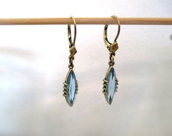 Vintage earrings, blue crystal, gold-filled, Germany, 1960's, something blue, wedding, perfect choice, dainty and delicate