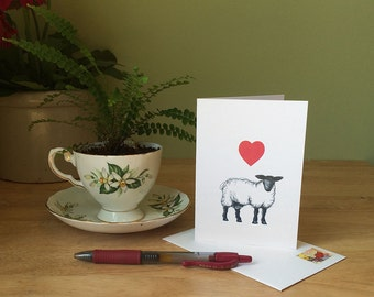 Sheep love card. Simple card with drawing of a sheep for anniversary, new baby, or just a love note. Sheep art card. Blank inside.