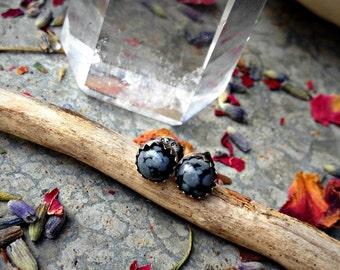 Haunted - Snowflake Obsidian Sterling Silver 5mm Post Earrings - Stud - Black - Boho - Gemstone - Handcrafted