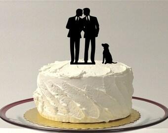 MADE In USA, Gay Wedding Cake Topper + DOG Same Sex Cake Topper Gay Cake Topper Gay silhouette Homosexual Wedding Cake Topper For Men Gift