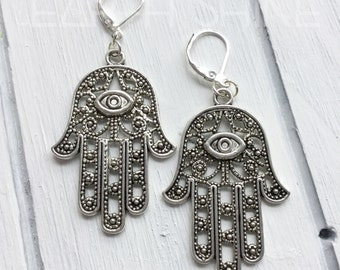 Hamsa Hand earrings, Evil Eye protection amulet