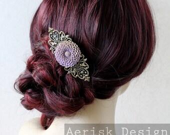 Purple Chrysanthemum Barrette (Vintage mold flower) Bridal wedding headpiece,Victorian Bride,keepsake gift,steampunk jewelry,romantic chic