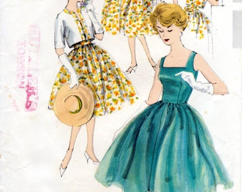 1950s Cocktail Dress Pattern - Vintage Vogue Special Design 4998 - Bust 34 Dress with Full Skirt & Bolero