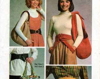 1970s Obi Belt and Over the Shoulder Bag Pattern - Vintage Simplicity 7018