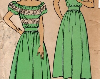 1940s Peasant Dress Pattern - Vintage New York 413 - Off Shoulder in FF