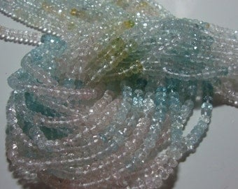 Beautiful Aquamarine Multi Pastel Color Micro Faceted Rondelle, full Strand, 4-4.5mm, o15