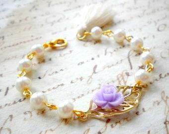 Flower Girl Bracelet Tassel Bracelet Romantic Gold Leaf Jewelry Lavender Bracelet Pearl Wedding Jewelry Flower Girl Gift Tassel Jewelry