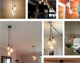3 Cluster Any Colors- Multi Pendant Clustered Chandelier - Unique Lighting - Vintage Style - Make your own - LED Bulbs - Modern Lights