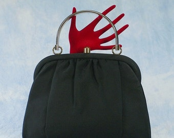 Vintage 1950s Black Faille Oversized Handbag Evening Purse  by L and M by Edwards, Great Clasp